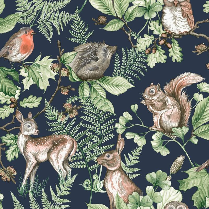 Vliesová tapeta Disney, 108568, Woodland Animals Navy, Graham & Brown